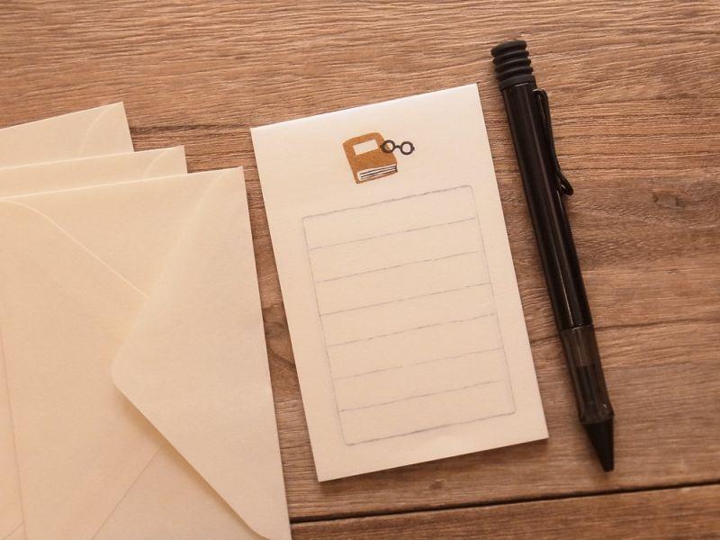 画像1: 【ネコポスOK】 そえぶみ箋 本とメガネ