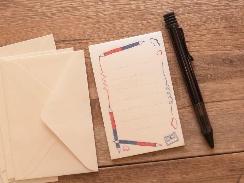 画像2: 【ネコポスOK】 ミニレターセット 文ぼう具 赤青えんぴつ