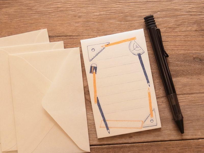 画像2: 【ネコポスOK】 ミニレターセット 文ぼう具 定規と分度器