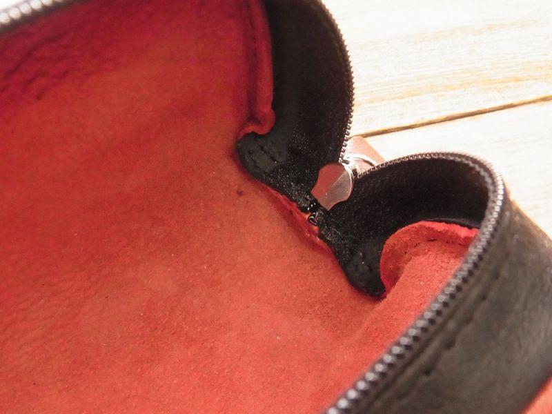 画像4: 【ネコポスNG】 フランス Clairefontaine/クレールフォンテーヌ 本革ペンケース レッド×ブラック