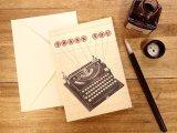 【ネコポスOK】 アメリカ CAVALLINI/カバリーニ グリーティングカード(2つ折り) Vintage typewriter