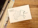 【ネコポスOK】 旅屋オリジナル 白地図ポストカード KANAGAWA/神奈川
