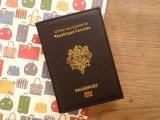 【ネコポスOK】 パスポートカバー フランス ブラック