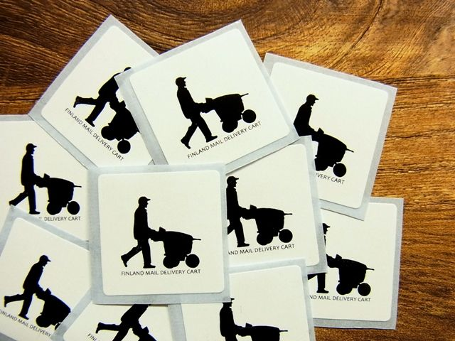 画像1: 【ネコポスOK】 郵便風景ステッカー フィンランド郵政配達用カート 10枚セット