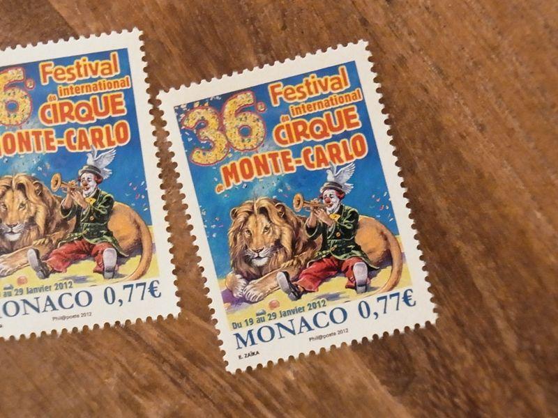 画像1: 【ネコポスOK】 外国未使用切手 モナコ モンテカルロ サーカスフェスティバル'12 (1枚)