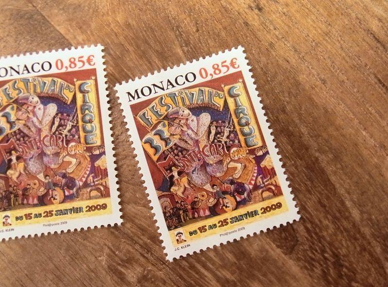 画像1: 【ネコポスOK】 外国未使用切手 モナコ モンテカルロ サーカスフェスティバル'09 (1枚)