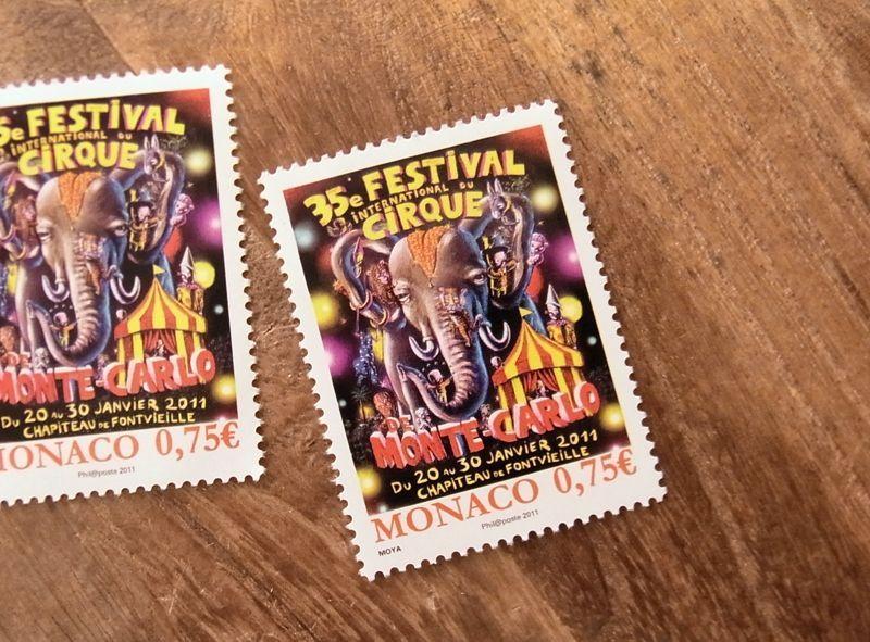 画像1: 【ネコポスOK】 外国未使用切手 モナコ モンテカルロ サーカスフェスティバル'11 (1枚)