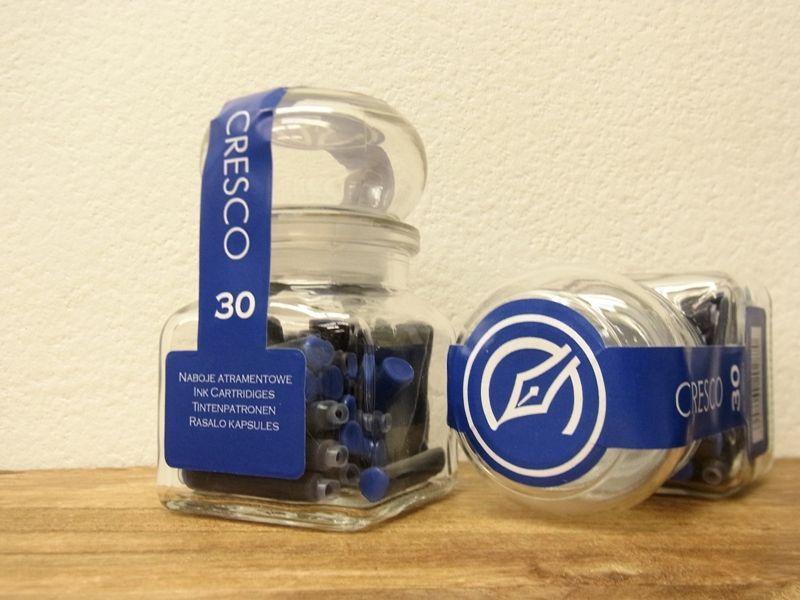 画像1: 【ネコポスNG】 ポーランド CRESCO/クレスコ 万年筆インクガラスジャー ブルー30個入り