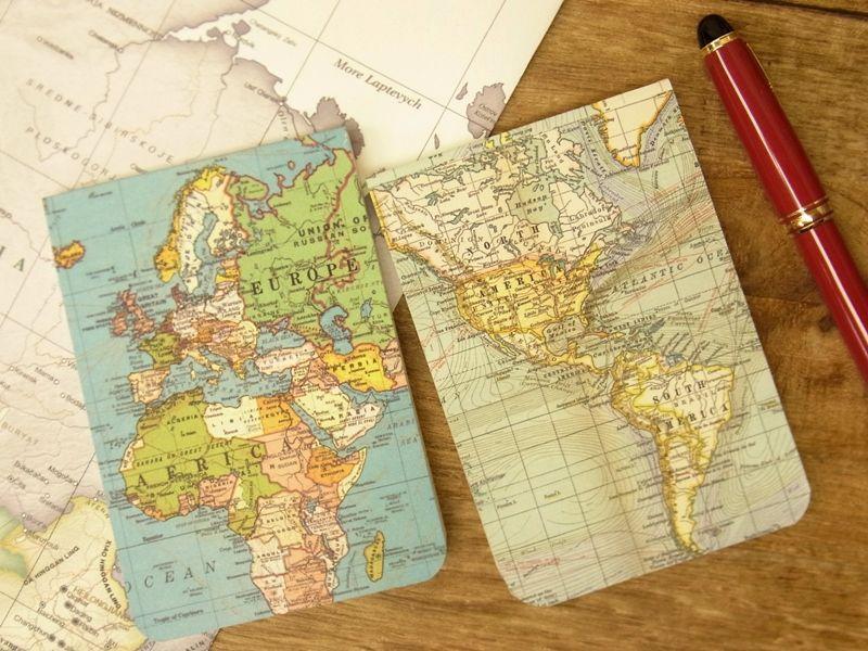 画像1: 【ネコポスOK】 アメリカ CAVALLINI/カバリーニ POCKET notebook set VINTAGE MAPS