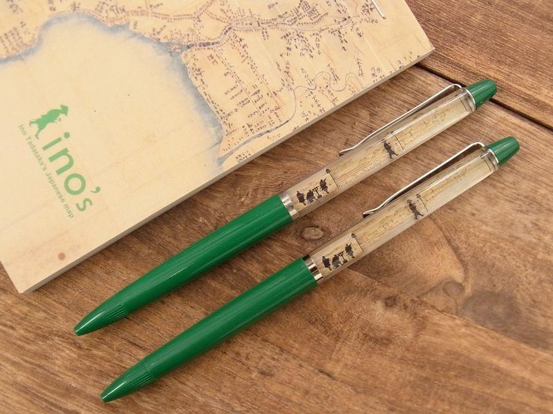 画像1: 【ネコポスOK】 inoh's フローティングペン 「大日本沿海輿地全図」製作中の伊能忠敬 グリーン