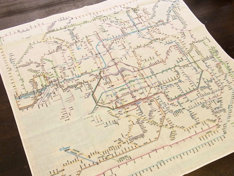 画像2: 【ネコポスOK】 鉄道路線図ハンカチ 関西