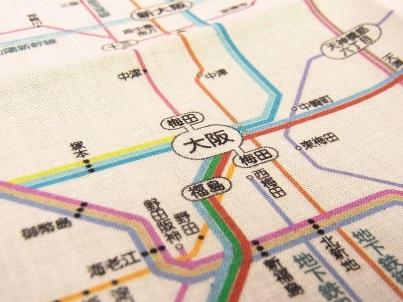画像3: 【ネコポスOK】 鉄道路線図ハンカチ 関西