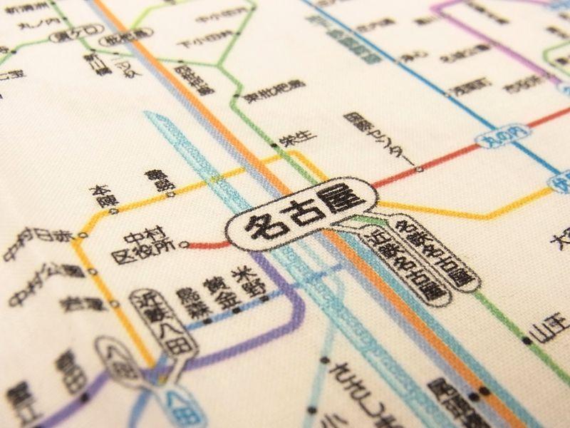 画像2: 【ネコポスOK】 鉄道路線図ハンカチ 中部