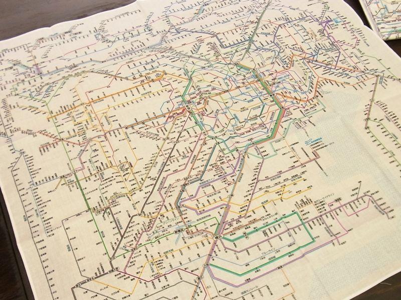 画像2: 【ネコポスOK】 鉄道路線図ハンカチ 首都圏