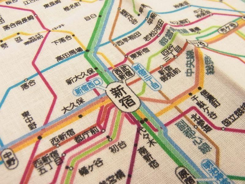 画像3: 【ネコポスOK】 鉄道路線図ハンカチ 首都圏