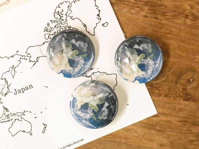 画像1: 【ネコポスOK】 惑星 缶バッジ 32mm 地球(1個)