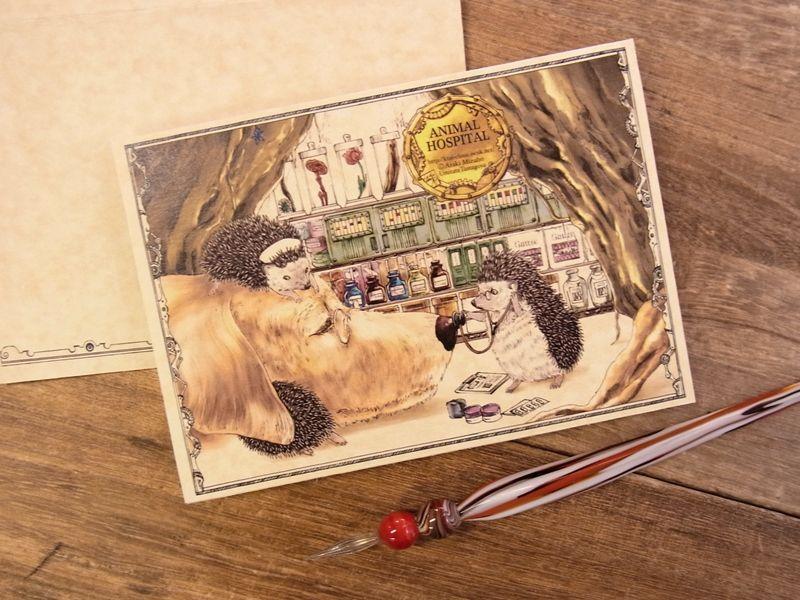 画像1: 【ネコポスOK】 生みたて卵屋 2つ折りカード ハリネズミ