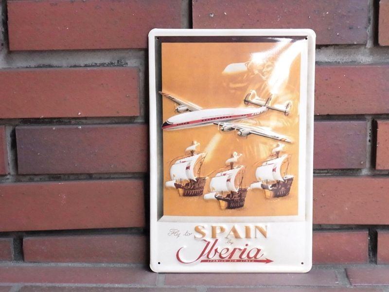 画像1: 【ネコポスNG】 3D METAL POSTER/Steel Sign スペイン イベリア航空