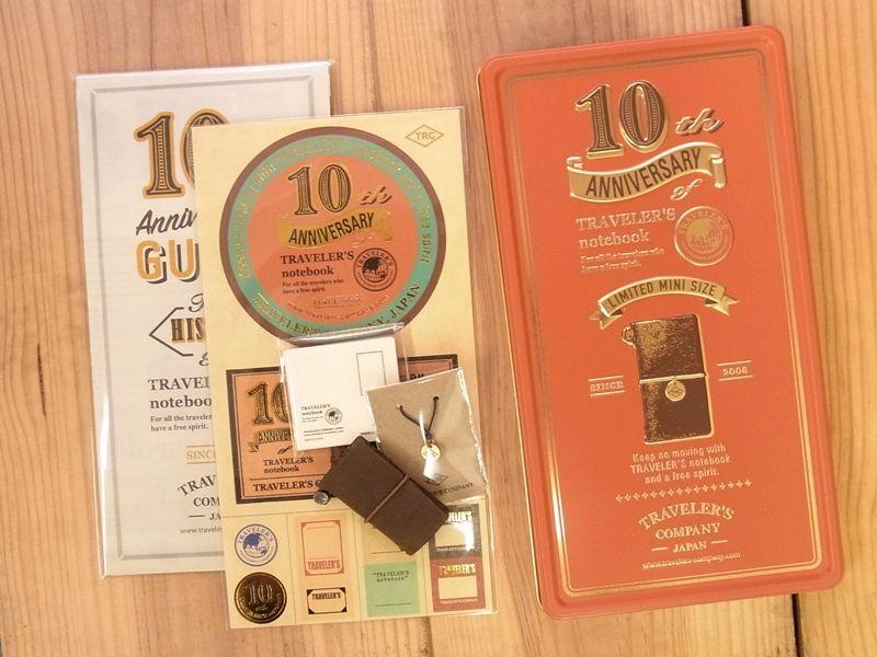 画像2: 【ネコポスNG】 TRAVELER'S notebook/トラベラーズノート ミニ 10周年缶セット 茶