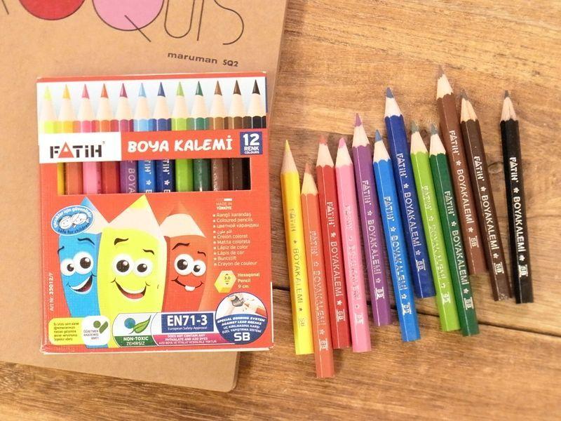 画像1: 【ネコポスOK】 トルコ PENSAN/ペンサン FATIH ハーフサイズ色鉛筆12色