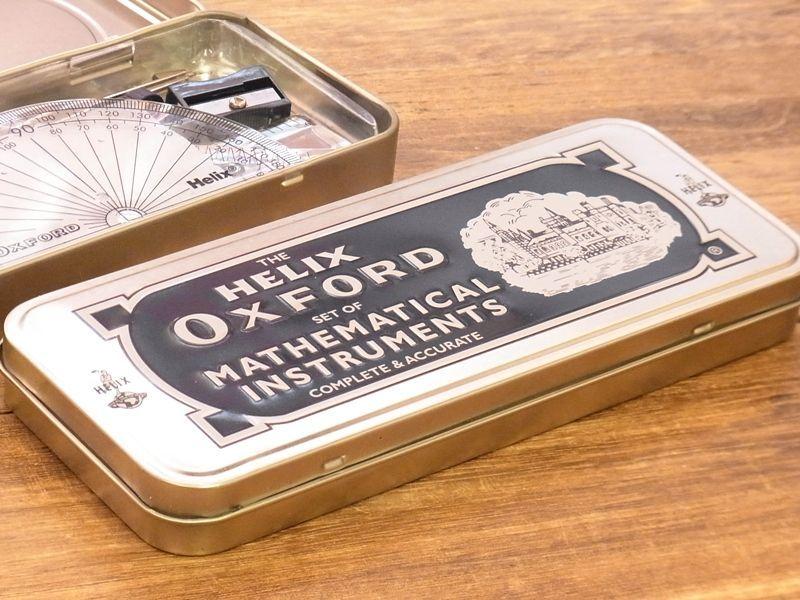 画像1: 【ネコポス△】 イギリス Helix OXFORD 缶入り定規&コンパスセット