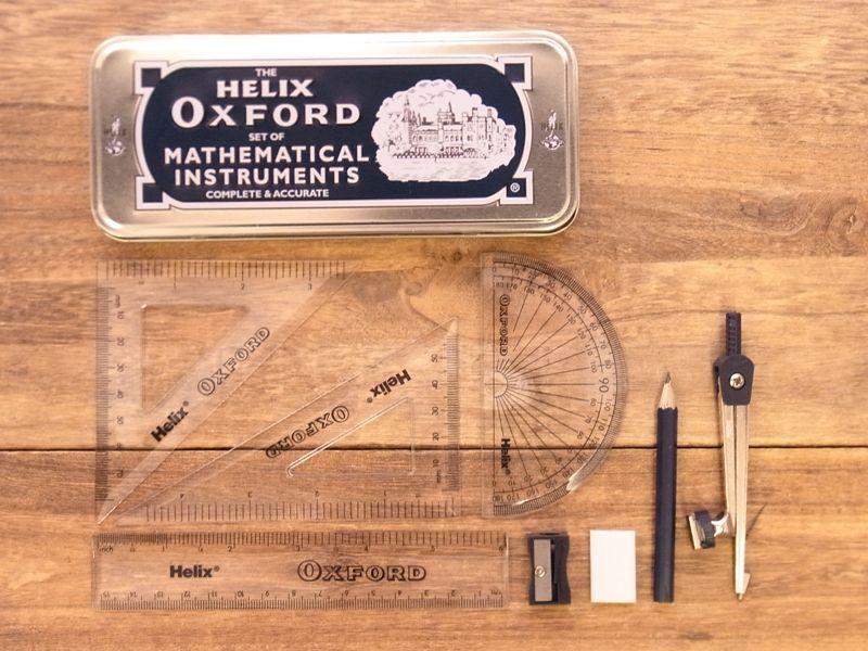 画像2: 【ネコポス△】 イギリス Helix OXFORD 缶入り定規&コンパスセット