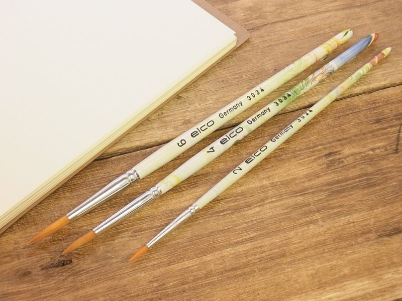 画像1: 【ネコポスOK】【デッドストック】 ドイツ エルコ 筆3本セット マーブル