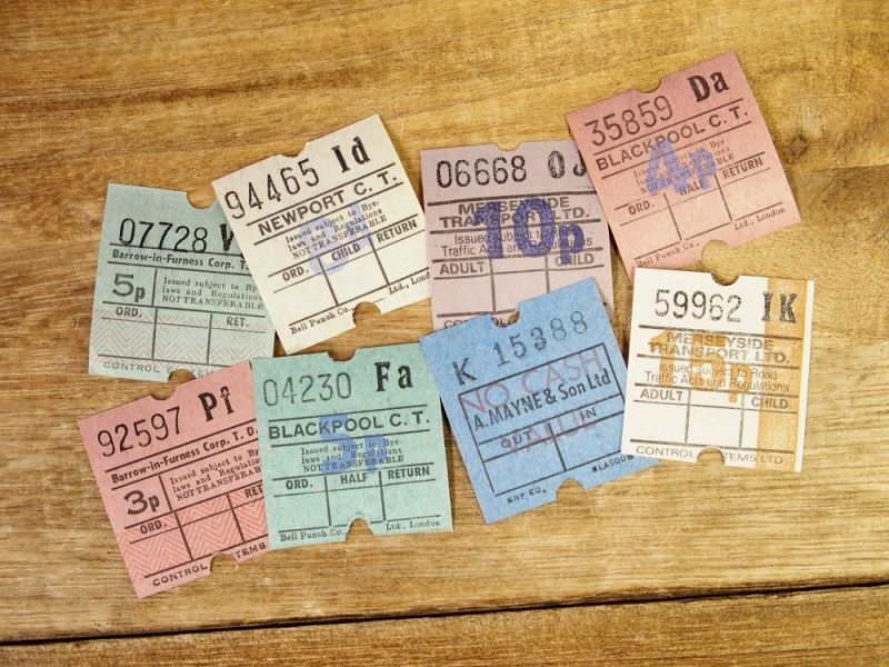 画像1: 【ネコポスOK】 イギリス ヴィンテージ バスチケット 8枚セット