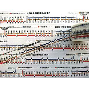画像2: 【ネコポス△】 TRAINIART/トレニアート マスキングテープ 中央・総武線路線図