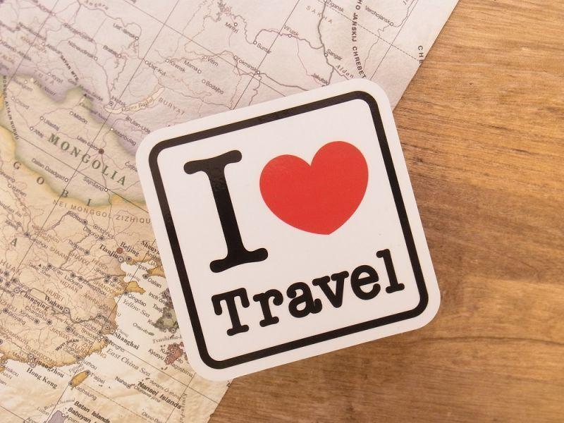 画像1: 【ネコポスOK】 旅屋オリジナル ステッカー I LOVE Travel