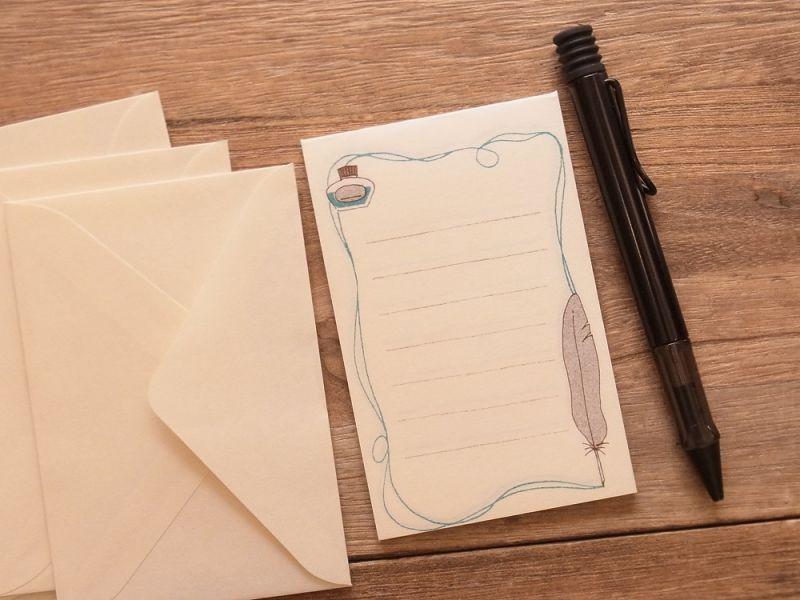 画像2: 【ネコポスOK】 ミニレターセット 文ぼう具 インクと羽ペン