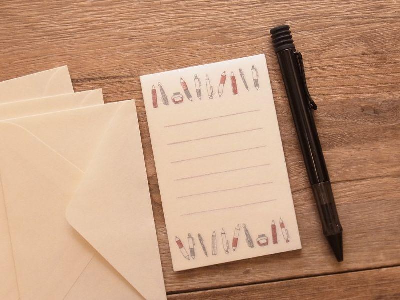 画像2: 【ネコポスOK】 ミニレターセット 文ぼう具 ペンいろいろ