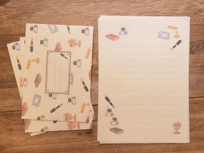 画像2: 【ネコポスOK】 ハンコのレターセット 万年筆