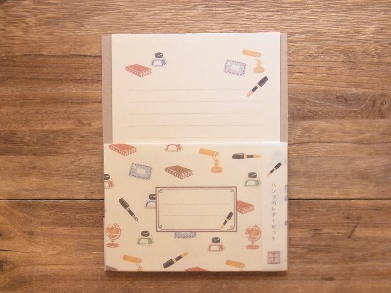 画像1: 【ネコポスOK】 ハンコのレターセット 万年筆