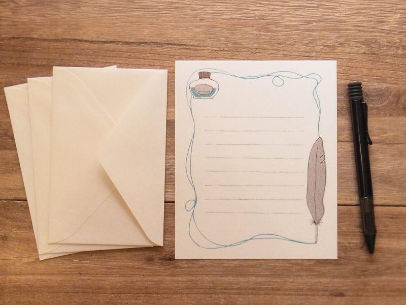 画像2: 【ネコポスOK】 レターセット 文ぼう具 インクと羽ペン