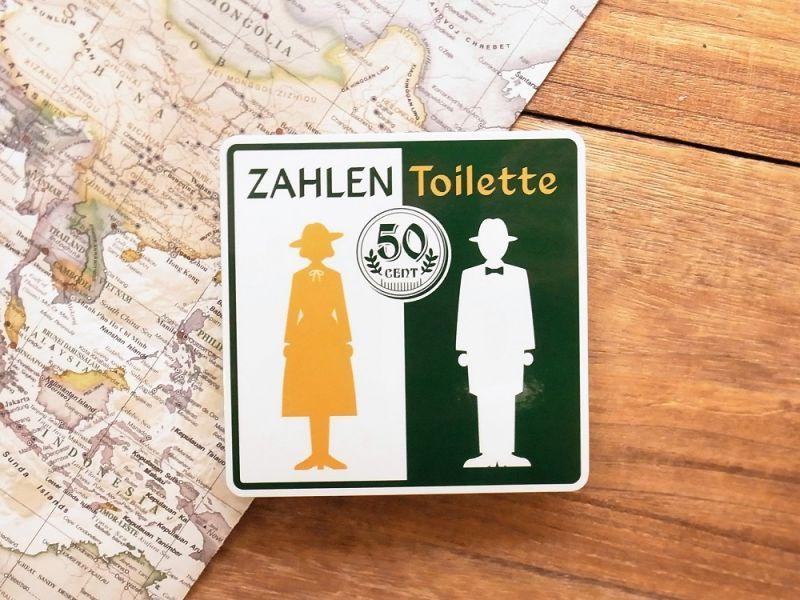 画像1: 【ネコポスOK】 旅屋オリジナル 旅ステッカー ZAHLEN TOILETTE/有料トイレ