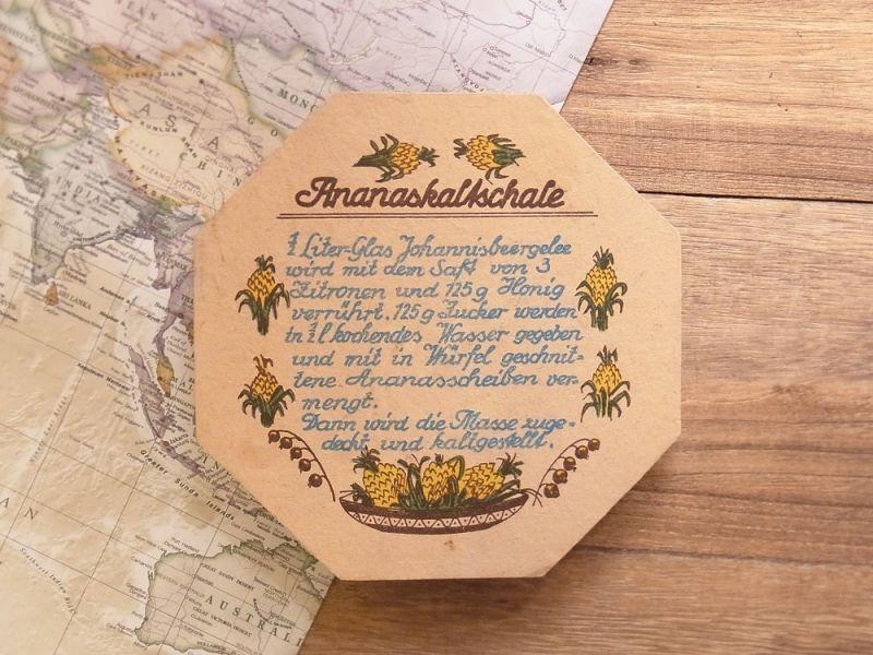 画像1: 【ドイツ買付け品】【ネコポスOK】 DDR Rezept Untersetzer/レシピ コースター ananas kaltschale