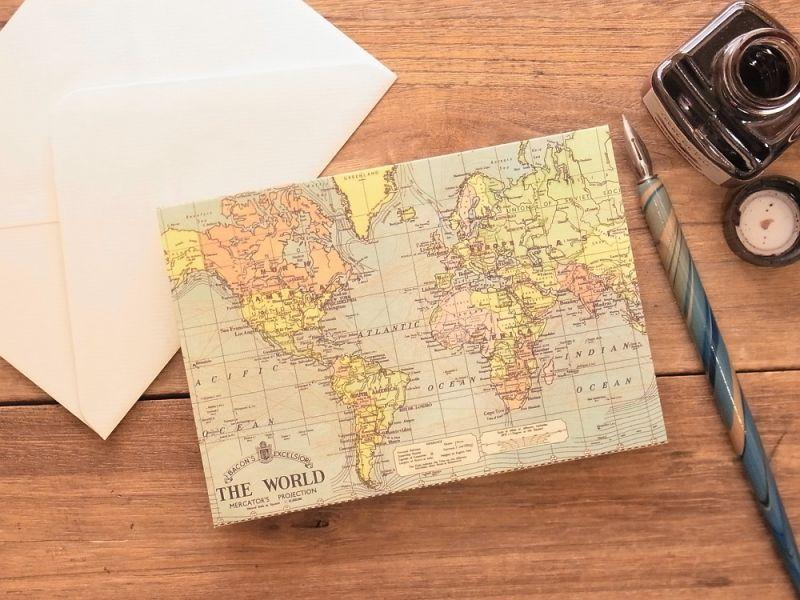 画像1: 【ネコポスOK】 アメリカ CAVALLINI/カバリーニ グリーティングカード(2つ折り) World Map