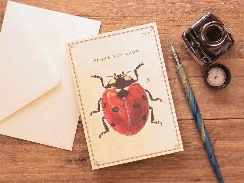 画像1: 【ネコポスOK】 アメリカ CAVALLINI/カバリーニ グリーティングカード(2つ折り) Thank You Lady