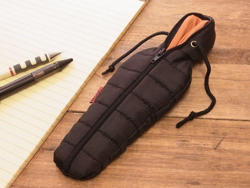 画像1: 【ネコポスOK】 SLEEPING BAG SHAPE PEN CASE/スリーピングバッグ ペンケース ブラック