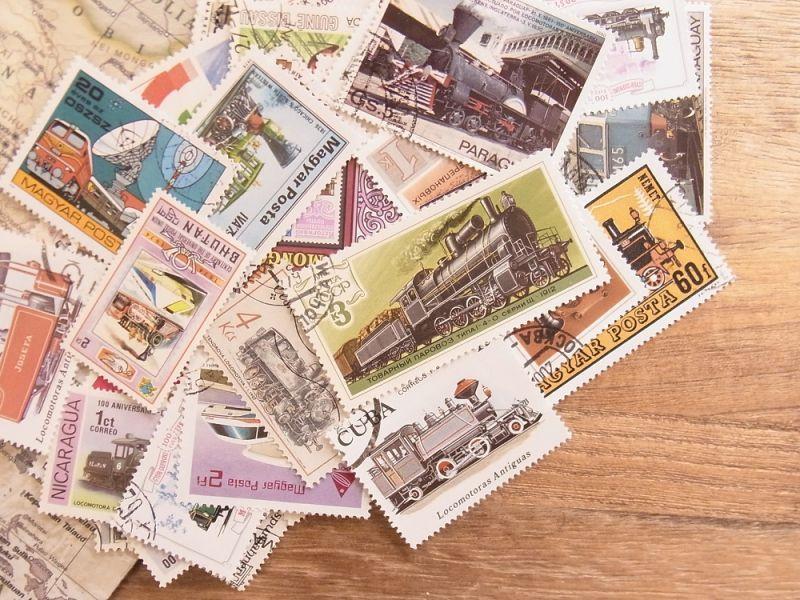 画像1: 【ネコポスOK】 外国使用済切手 世界の鉄道切手 50枚入り