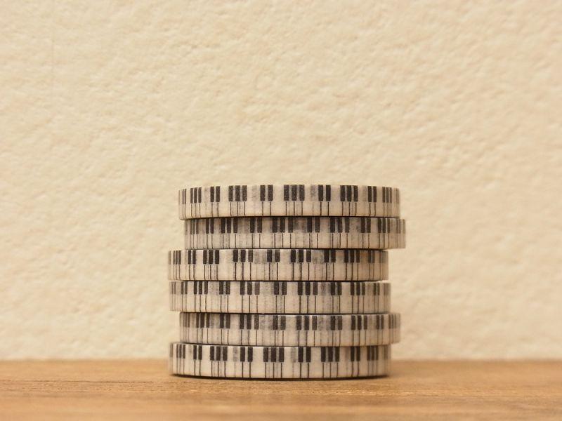 画像1: 【ネコポスOK】 BGM マスキングテープ ブラック&ホワイト・ピアノのキー
