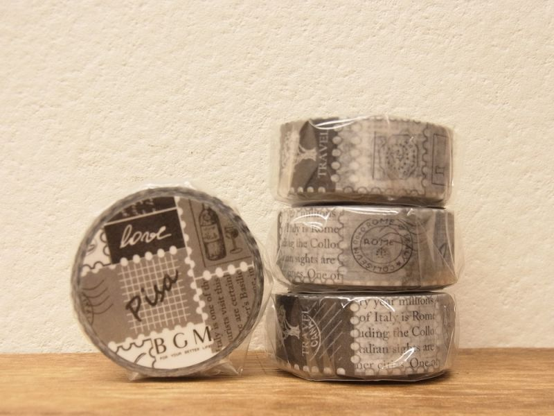 画像1: 【ネコポスOK】 BGM マスキングテープ ブラック&ホワイト・切手