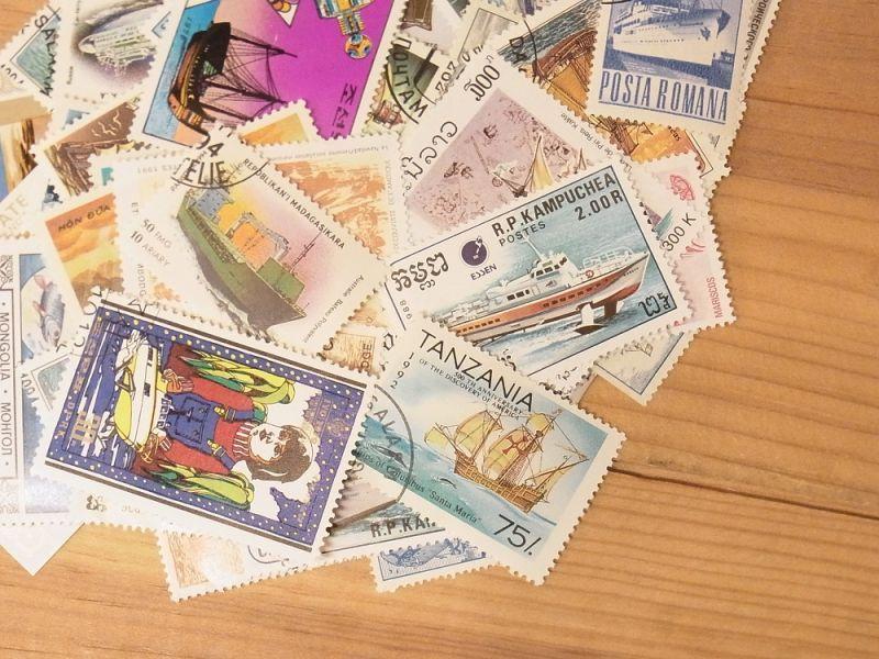 画像1: 【ネコポスOK】 外国使用済切手 世界の船 50枚入り