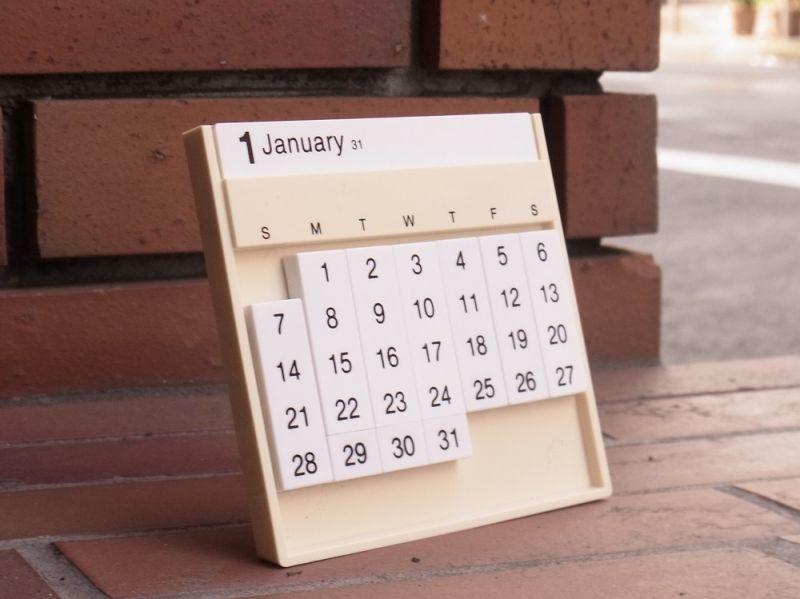 画像1: 【ネコポスOK】 アメリカ Slencil/スレンシル Always calendar/万年カレンダー アイボリー