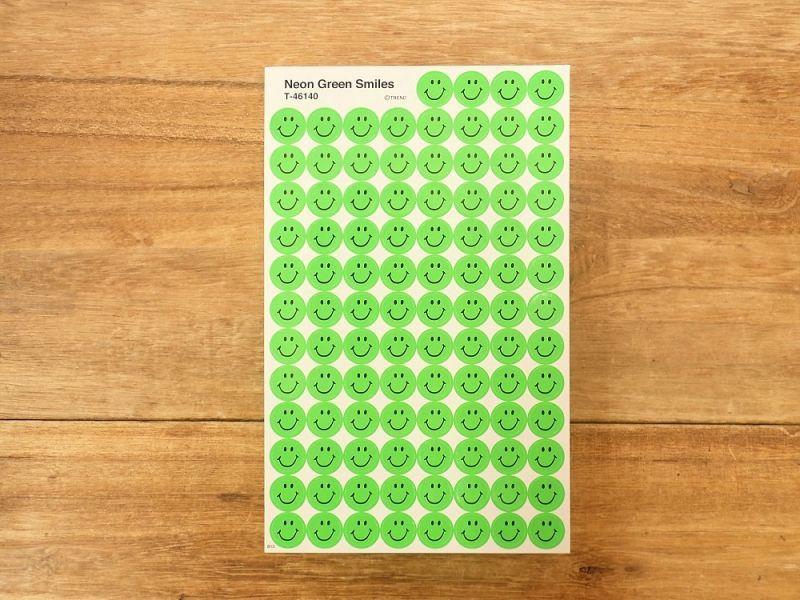 画像1: 【ネコポスOK】 アメリカ ステッカー Neon Green Smiles