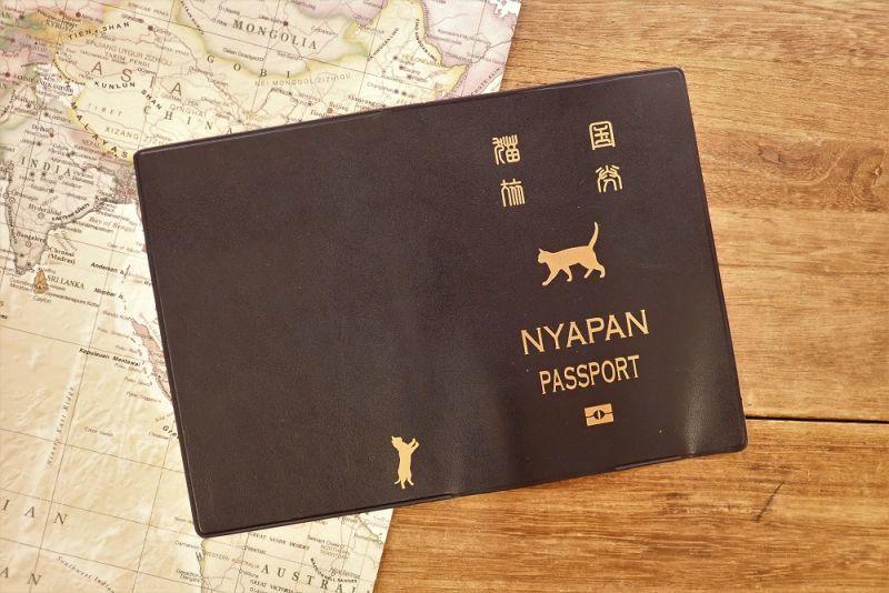 画像3: 【ネコポスOK】 パスポートカバー ネコ ブルー