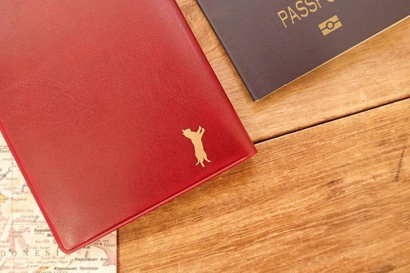 画像2: 【ネコポスOK】 パスポートカバー ネコ レッド