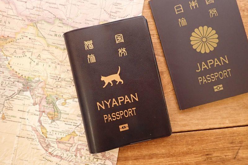 画像1: 【ネコポスOK】 パスポートカバー ネコ ブルー