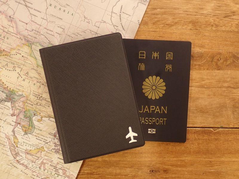 画像1: 【ネコポスOK】 パスポートカバーS ブラック